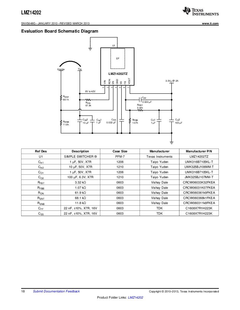 LMZ14202TZ-ADJ/NOPB ,Texas Instruments厂商,DC/DC Switching Converters 42V,2A PWR MODULE, LMZ14202TZ-ADJ/NOPB datasheet预览  第18页