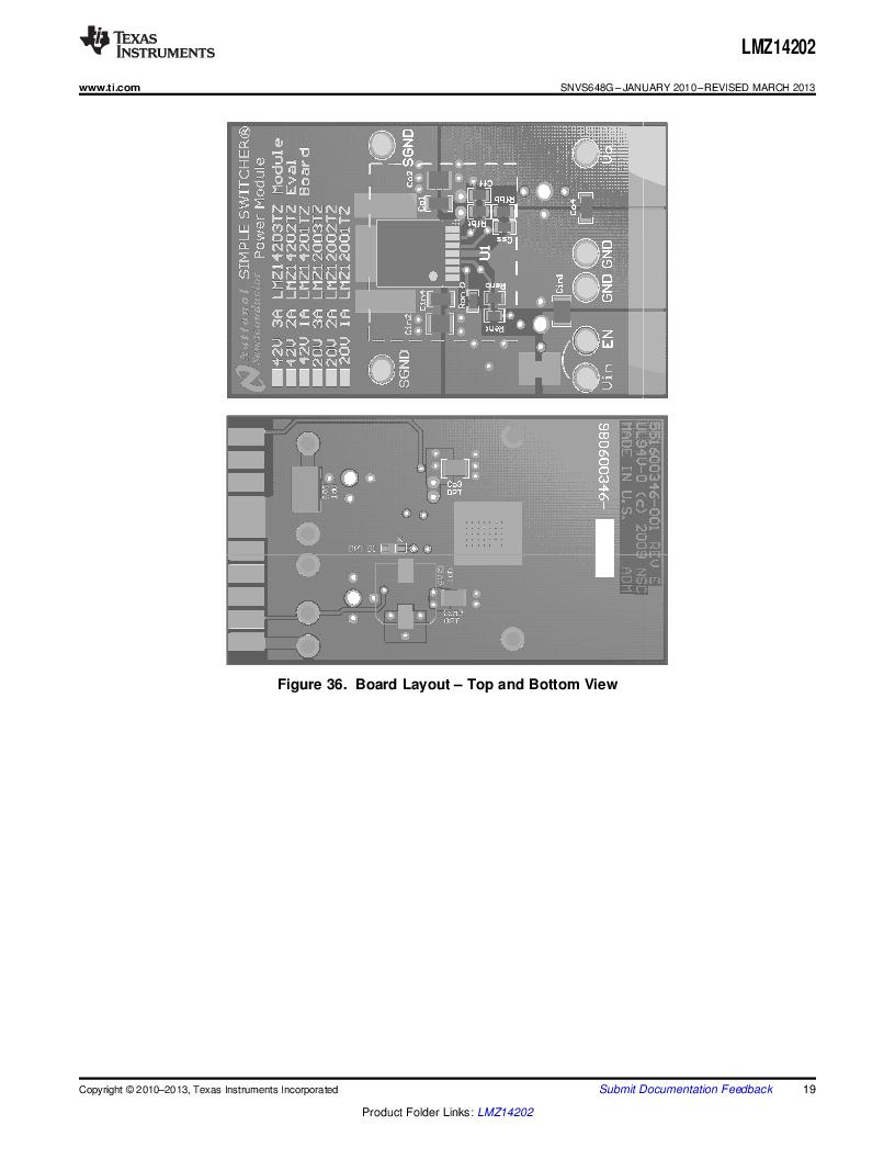 LMZ14202TZ-ADJ/NOPB ,Texas Instruments厂商,DC/DC Switching Converters 42V,2A PWR MODULE, LMZ14202TZ-ADJ/NOPB datasheet预览  第19页