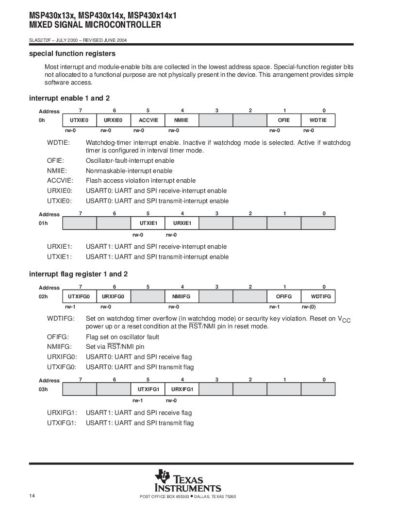 MSP430F147IPMR-KAM ,Texas Instruments厂商,16-Bit Ultra-Low-Power Microcontroller, 32 kB Flash, 1KB RAM, 12 bit ADC, 2 USARTs, HW multiplier 64-LQFP -40 to 85, MSP430F147IPMR-KAM datasheet预览  第14页