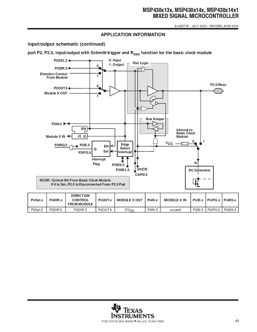 MSP430F147IPMR-KAM ,Texas Instruments厂商,16-Bit Ultra-Low-Power Microcontroller, 32 kB Flash, 1KB RAM, 12 bit ADC, 2 USARTs, HW multiplier 64-LQFP -40 to 85, MSP430F147IPMR-KAM datasheet预览  第43页