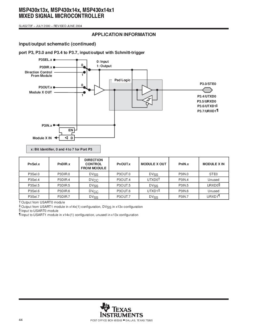 MSP430F147IPMR-KAM ,Texas Instruments厂商,16-Bit Ultra-Low-Power Microcontroller, 32 kB Flash, 1KB RAM, 12 bit ADC, 2 USARTs, HW multiplier 64-LQFP -40 to 85, MSP430F147IPMR-KAM datasheet预览  第44页