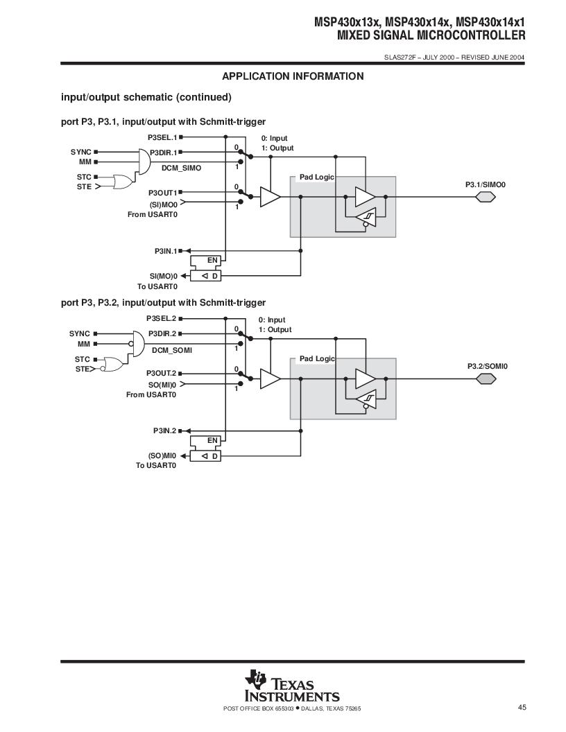 MSP430F147IPMR-KAM ,Texas Instruments厂商,16-Bit Ultra-Low-Power Microcontroller, 32 kB Flash, 1KB RAM, 12 bit ADC, 2 USARTs, HW multiplier 64-LQFP -40 to 85, MSP430F147IPMR-KAM datasheet预览  第45页