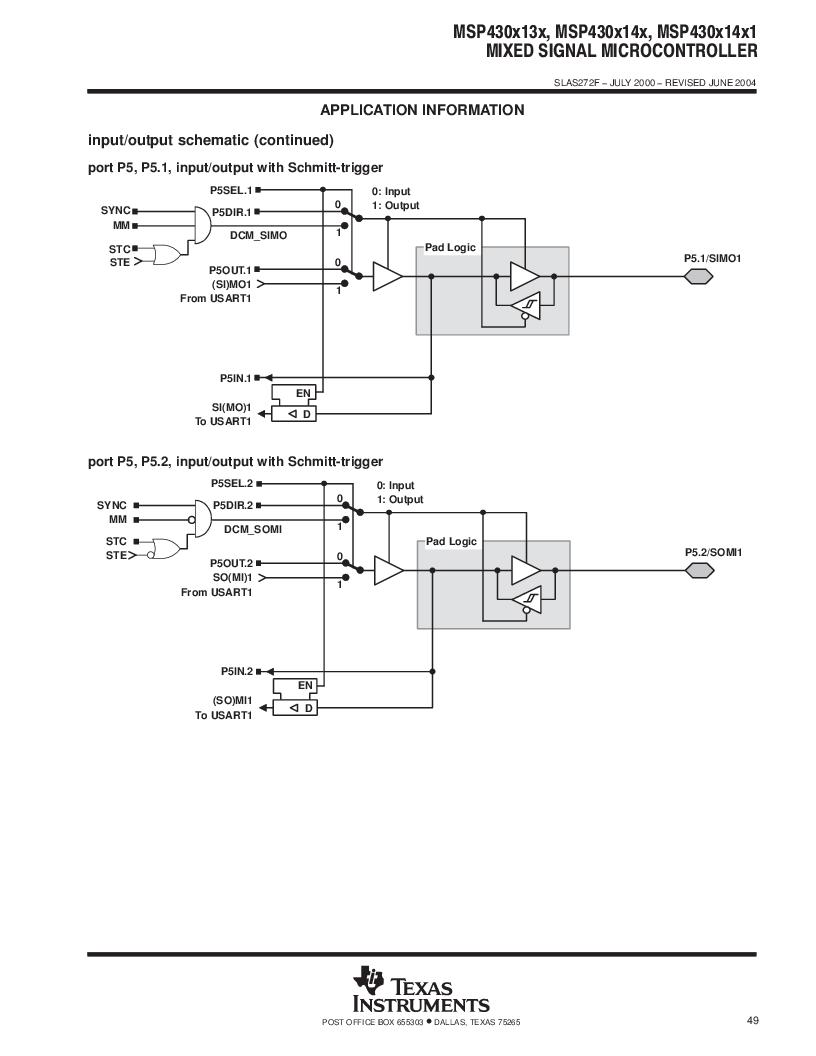 MSP430F147IPMR-KAM ,Texas Instruments厂商,16-Bit Ultra-Low-Power Microcontroller, 32 kB Flash, 1KB RAM, 12 bit ADC, 2 USARTs, HW multiplier 64-LQFP -40 to 85, MSP430F147IPMR-KAM datasheet预览  第49页