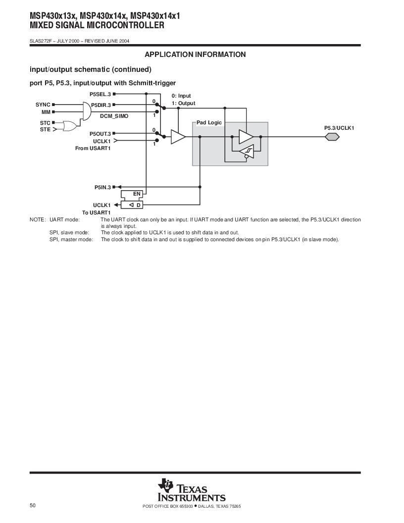 MSP430F147IPMR-KAM ,Texas Instruments厂商,16-Bit Ultra-Low-Power Microcontroller, 32 kB Flash, 1KB RAM, 12 bit ADC, 2 USARTs, HW multiplier 64-LQFP -40 to 85, MSP430F147IPMR-KAM datasheet预览  第50页