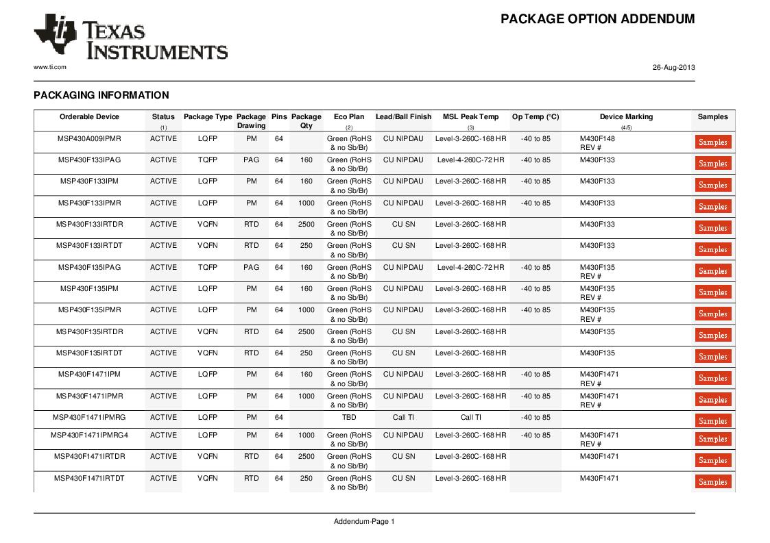 MSP430F147IPMR-KAM ,Texas Instruments厂商,16-Bit Ultra-Low-Power Microcontroller, 32 kB Flash, 1KB RAM, 12 bit ADC, 2 USARTs, HW multiplier 64-LQFP -40 to 85, MSP430F147IPMR-KAM datasheet预览  第54页