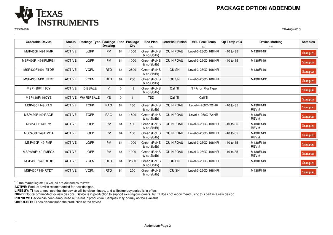 MSP430F147IPMR-KAM ,Texas Instruments厂商,16-Bit Ultra-Low-Power Microcontroller, 32 kB Flash, 1KB RAM, 12 bit ADC, 2 USARTs, HW multiplier 64-LQFP -40 to 85, MSP430F147IPMR-KAM datasheet预览  第56页