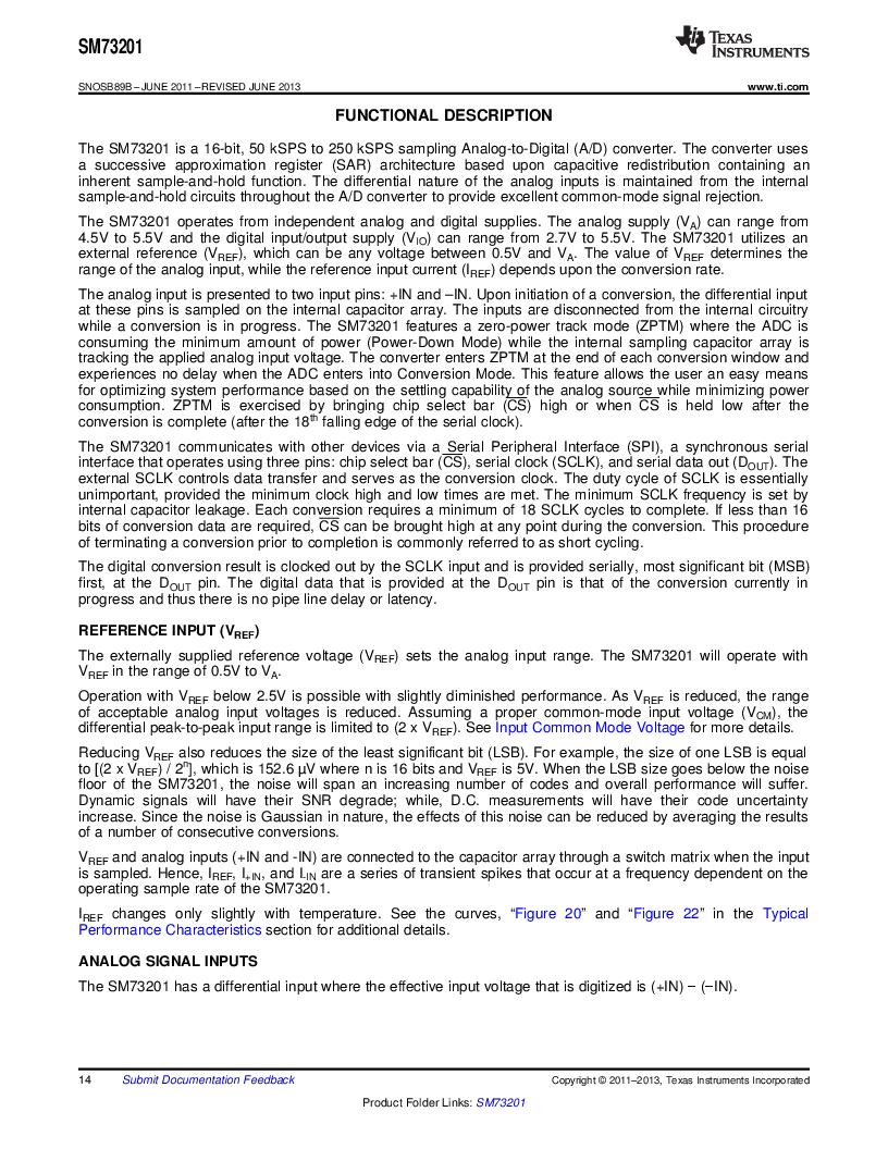 SM73201IMMX/NOPB ,Texas Instruments厂商,IC ADC 16BIT 50/250KSPS 10MSOP, SM73201IMMX/NOPB datasheet预览  第14页