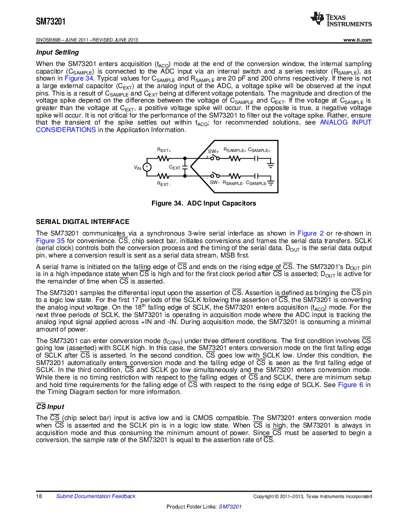 SM73201IMMX/NOPB ,Texas Instruments厂商,IC ADC 16BIT 50/250KSPS 10MSOP, SM73201IMMX/NOPB datasheet预览  第18页