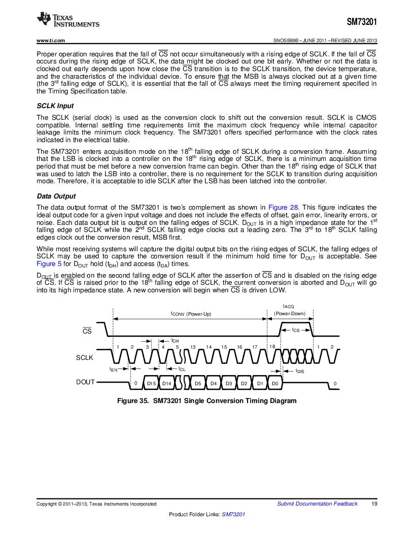 SM73201IMMX/NOPB ,Texas Instruments厂商,IC ADC 16BIT 50/250KSPS 10MSOP, SM73201IMMX/NOPB datasheet预览  第19页