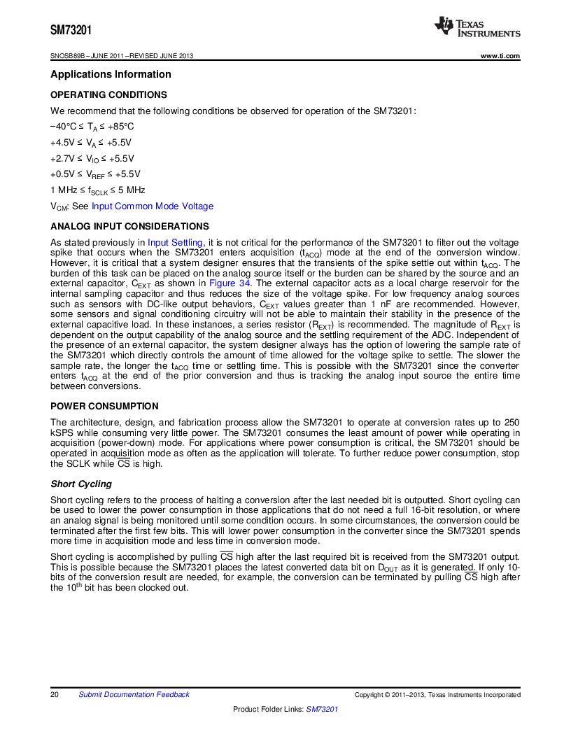 SM73201IMMX/NOPB ,Texas Instruments厂商,IC ADC 16BIT 50/250KSPS 10MSOP, SM73201IMMX/NOPB datasheet预览  第20页