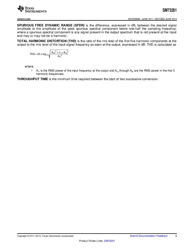 SM73201IMMX/NOPB ,Texas Instruments厂商,IC ADC 16BIT 50/250KSPS 10MSOP, SM73201IMMX/NOPB datasheet预览  第9页
