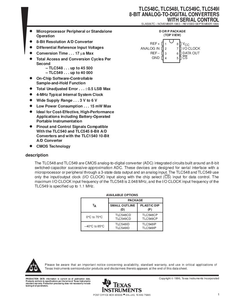 Tlc549ip pdf下载,texas instruments厂商,datasheet下载—21ic电子元件.