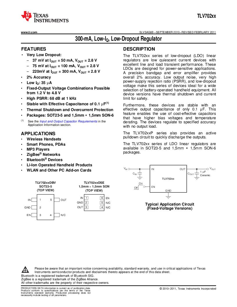 TLV70225DBVR ,Texas Instruments厂商,IC REG LDO 2.5V .3A SOT23-5, TLV70225DBVR datasheet预览  第1页