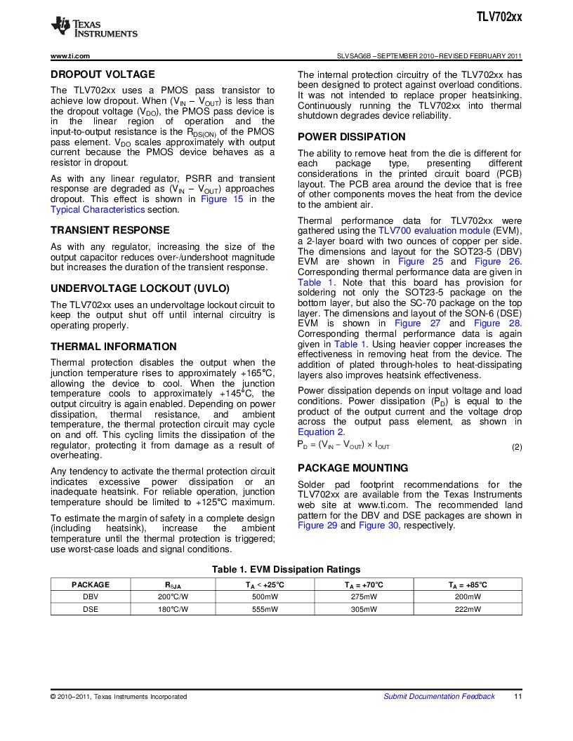 TLV70225DBVR ,Texas Instruments厂商,IC REG LDO 2.5V .3A SOT23-5, TLV70225DBVR datasheet预览  第11页