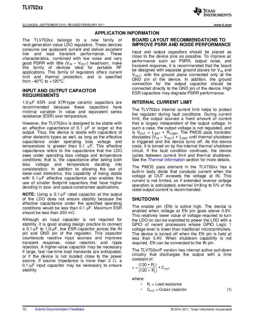 TLV70225DBVR ,Texas Instruments厂商,IC REG LDO 2.5V .3A SOT23-5, TLV70225DBVR datasheet预览  第10页