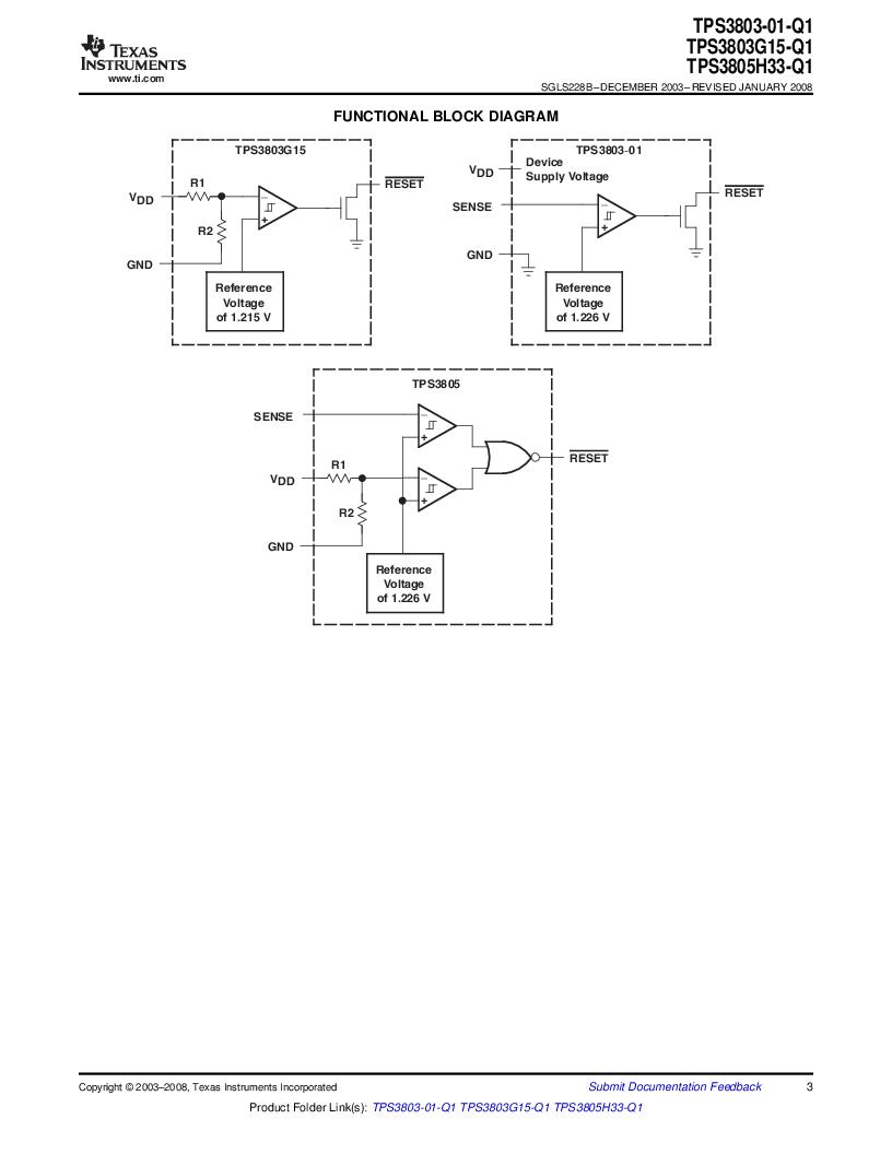 2T05H33QDCKRG4Q ,Texas Instruments厂商,Supervisory Circuits Auto Cat Dual Vltg Detectors, 2T05H33QDCKRG4Q datasheet预览  第3页