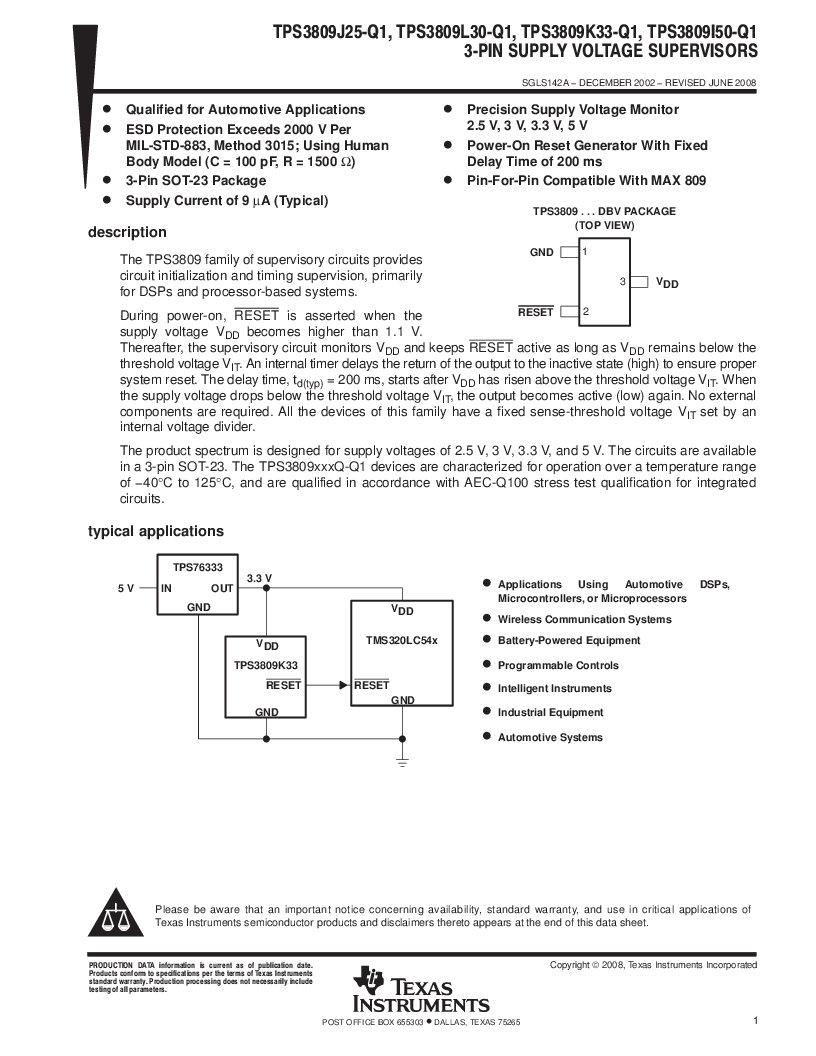 2T09J25QDBVRG4Q ,Texas Instruments厂商,Supervisory Circuits Auto Cat 3-Pin Sply Vltg Sup, 2T09J25QDBVRG4Q datasheet预览  第1页