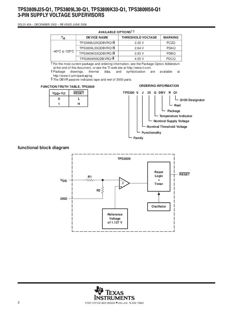 2T09J25QDBVRG4Q ,Texas Instruments厂商,Supervisory Circuits Auto Cat 3-Pin Sply Vltg Sup, 2T09J25QDBVRG4Q datasheet预览  第2页