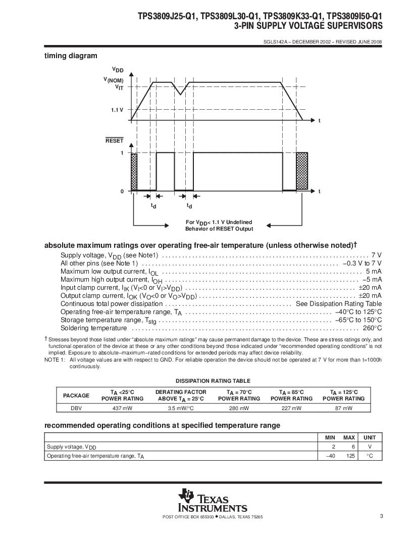 2T09J25QDBVRG4Q ,Texas Instruments厂商,Supervisory Circuits Auto Cat 3-Pin Sply Vltg Sup, 2T09J25QDBVRG4Q datasheet预览  第3页