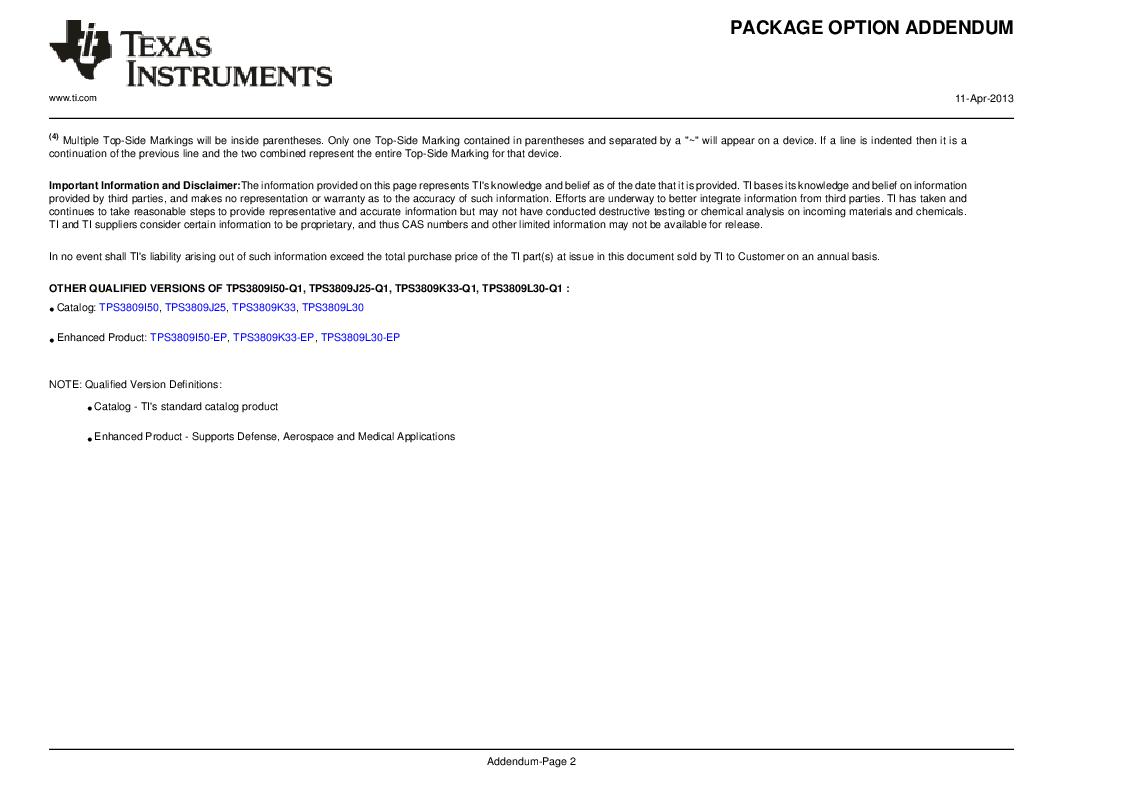 2T09J25QDBVRG4Q ,Texas Instruments厂商,Supervisory Circuits Auto Cat 3-Pin Sply Vltg Sup, 2T09J25QDBVRG4Q datasheet预览  第8页