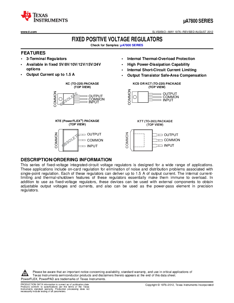 UA7812CKC ,Texas Instruments厂商,3 Pin 1.5A Fixed 12V Positive Voltage Regulator 3-TO-220 0 to 125, UA7812CKC datasheet预览  第1页