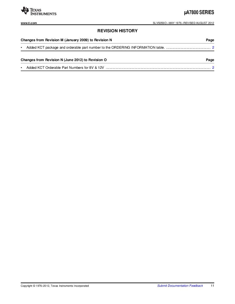 UA7812CKC ,Texas Instruments厂商,3 Pin 1.5A Fixed 12V Positive Voltage Regulator 3-TO-220 0 to 125, UA7812CKC datasheet预览  第11页
