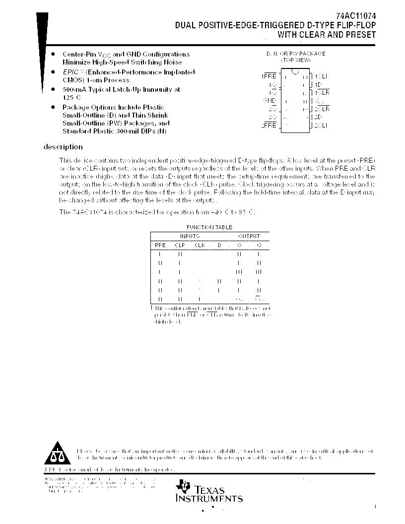 IC LOGIC 14DIP 74AC11074N By TEXAS INSTRUMENTS POS TRIG D F-F