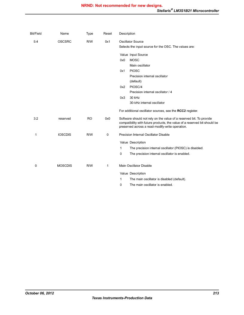 LM3S1B21 ,Texas Instruments厂商,Stellaris LM3S Microcontroller 100-LQFP -40 to 85, LM3S1B21 datasheet预览  第213页