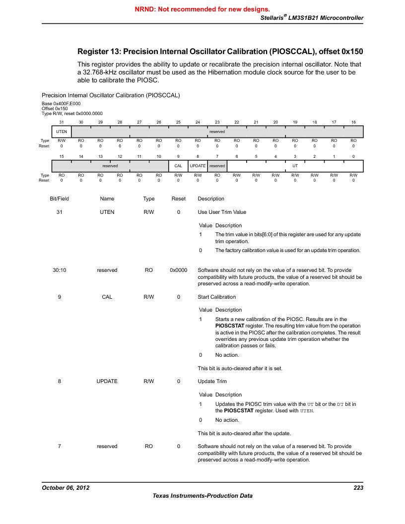 LM3S1B21 ,Texas Instruments厂商,Stellaris LM3S Microcontroller 100-LQFP -40 to 85, LM3S1B21 datasheet预览  第223页