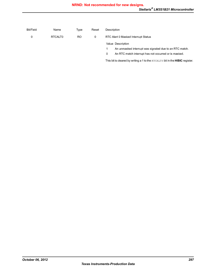LM3S1B21 ,Texas Instruments厂商,Stellaris LM3S Microcontroller 100-LQFP -40 to 85, LM3S1B21 datasheet预览  第297页