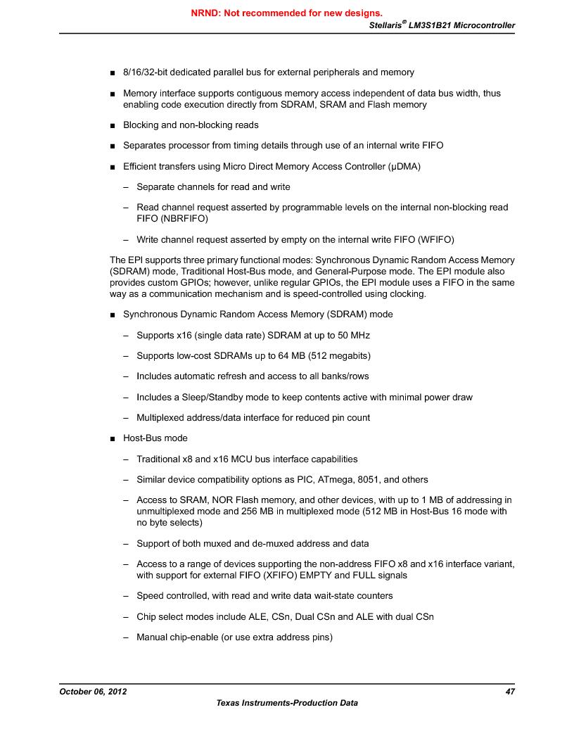 LM3S1B21 ,Texas Instruments厂商,Stellaris LM3S Microcontroller 100-LQFP -40 to 85, LM3S1B21 datasheet预览  第47页