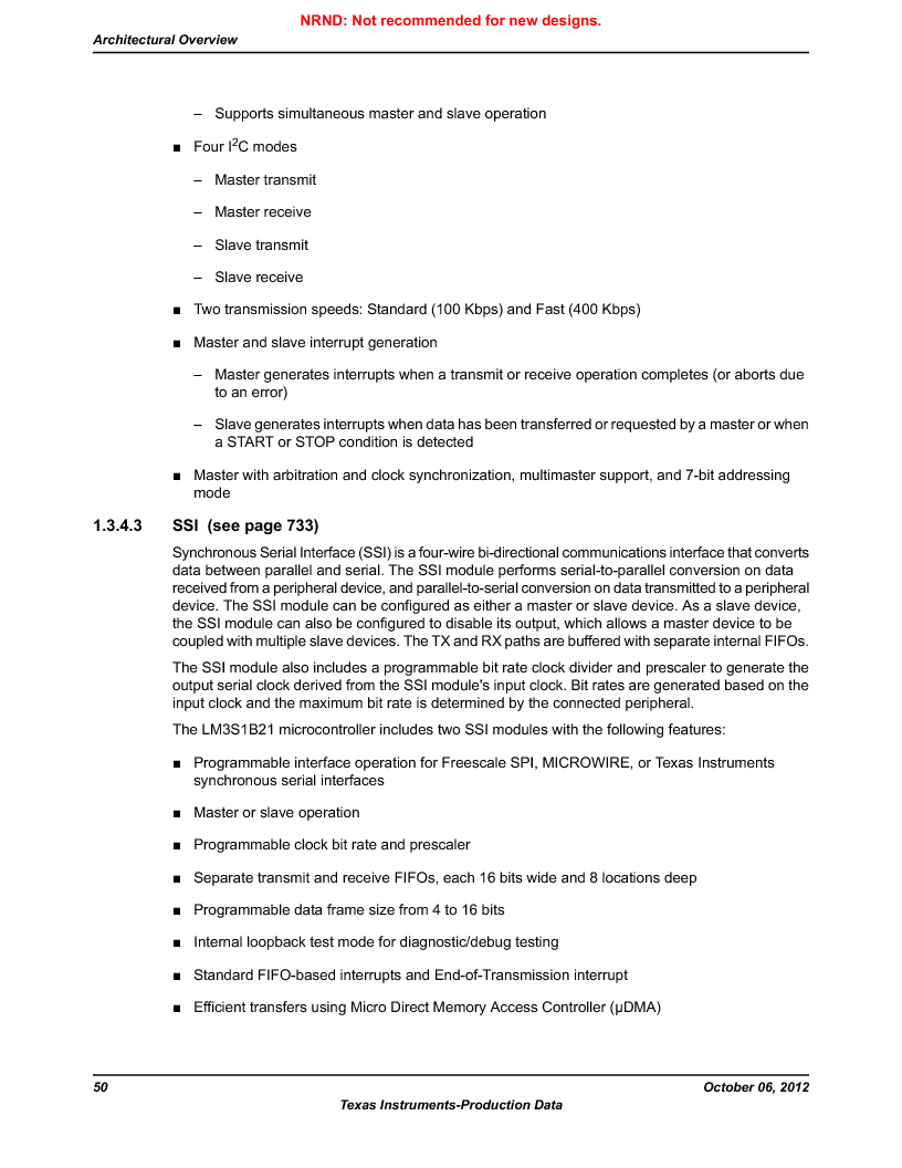 LM3S1B21 ,Texas Instruments厂商,Stellaris LM3S Microcontroller 100-LQFP -40 to 85, LM3S1B21 datasheet预览  第50页