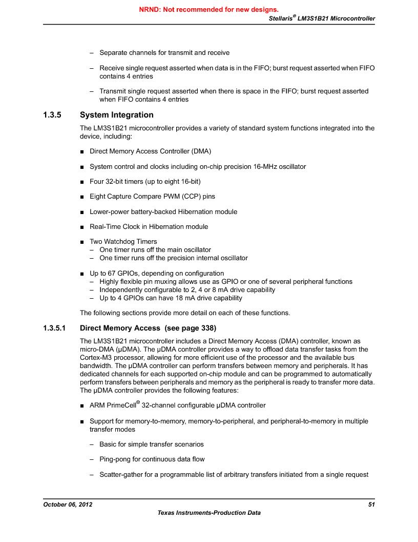 LM3S1B21 ,Texas Instruments厂商,Stellaris LM3S Microcontroller 100-LQFP -40 to 85, LM3S1B21 datasheet预览  第51页