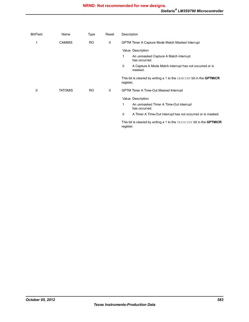 LM3S9790-IQC80-C5T ,Texas Instruments厂商,Stellaris LM3S Microcontroller 100-LQFP -40 to 85, LM3S9790-IQC80-C5T datasheet预览  第583页