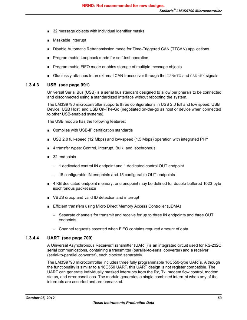LM3S9790-IQC80-C5T ,Texas Instruments厂商,Stellaris LM3S Microcontroller 100-LQFP -40 to 85, LM3S9790-IQC80-C5T datasheet预览  第63页