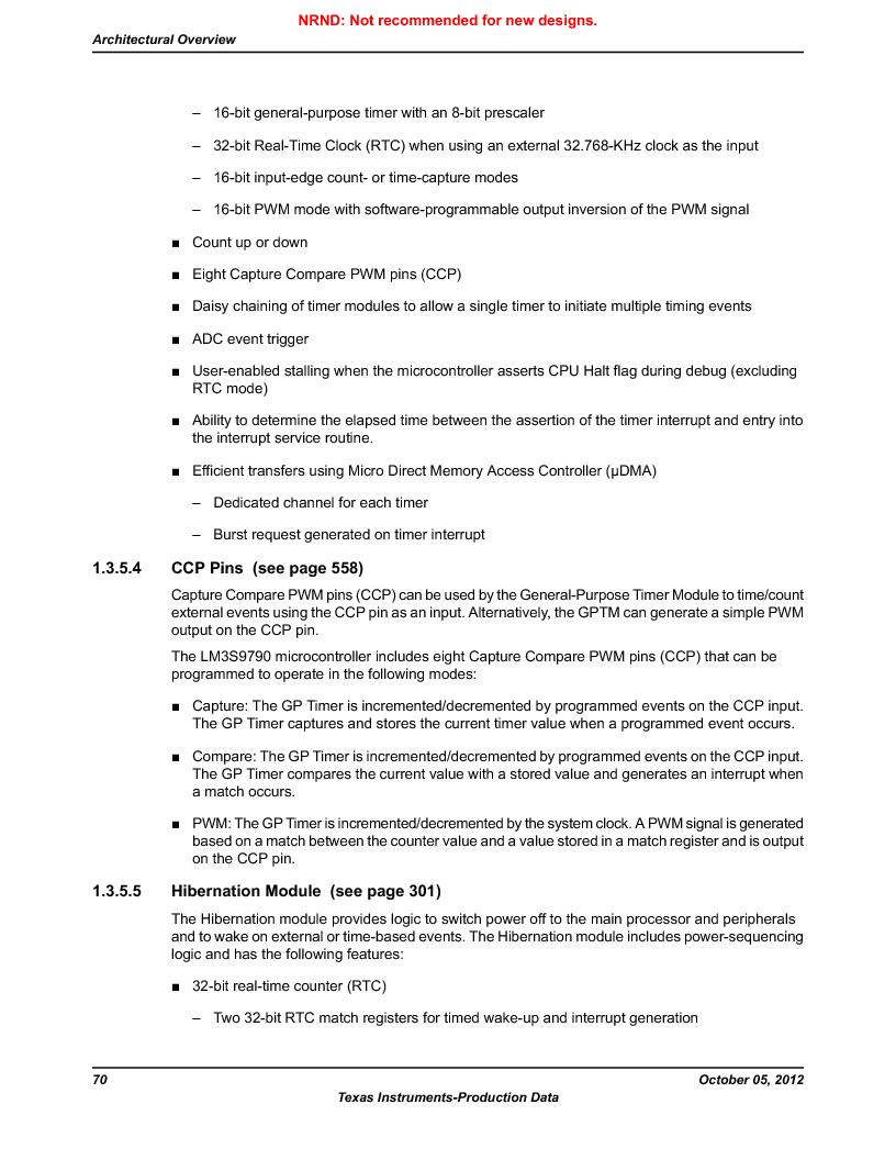 LM3S9790-IQC80-C5T ,Texas Instruments厂商,Stellaris LM3S Microcontroller 100-LQFP -40 to 85, LM3S9790-IQC80-C5T datasheet预览  第70页