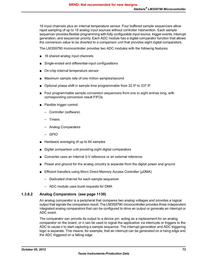 LM3S9790-IQC80-C5T ,Texas Instruments厂商,Stellaris LM3S Microcontroller 100-LQFP -40 to 85, LM3S9790-IQC80-C5T datasheet预览  第73页