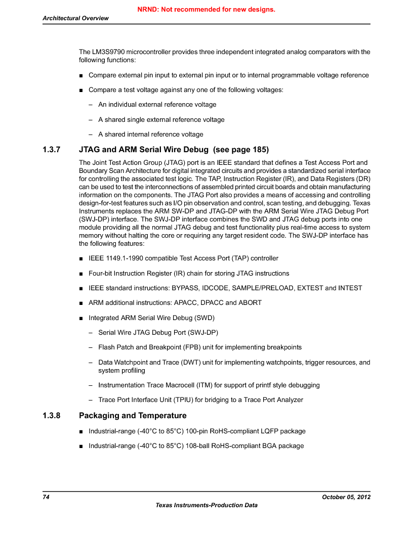 LM3S9790-IQC80-C5T ,Texas Instruments厂商,Stellaris LM3S Microcontroller 100-LQFP -40 to 85, LM3S9790-IQC80-C5T datasheet预览  第74页