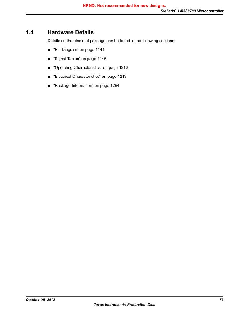 LM3S9790-IQC80-C5T ,Texas Instruments厂商,Stellaris LM3S Microcontroller 100-LQFP -40 to 85, LM3S9790-IQC80-C5T datasheet预览  第75页