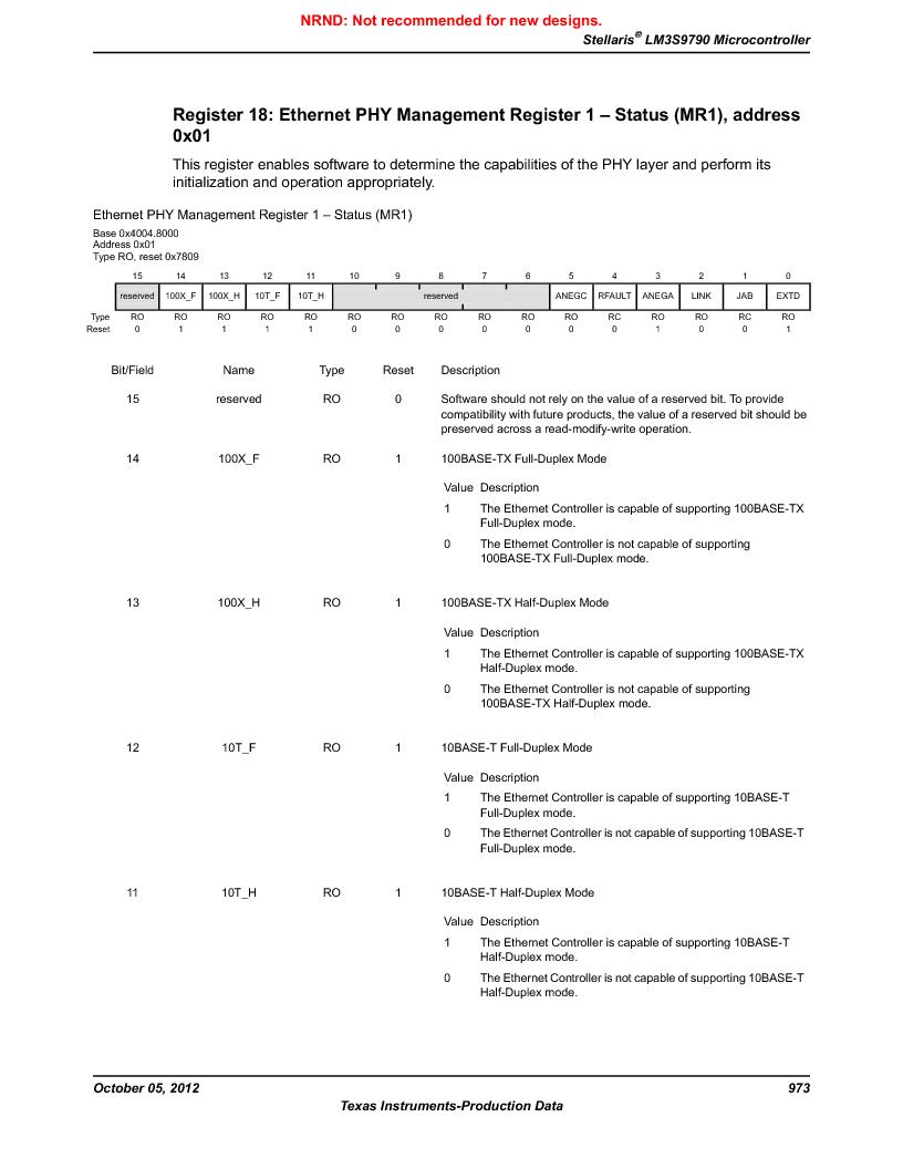 LM3S9790-IQC80-C5T ,Texas Instruments厂商,Stellaris LM3S Microcontroller 100-LQFP -40 to 85, LM3S9790-IQC80-C5T datasheet预览  第973页