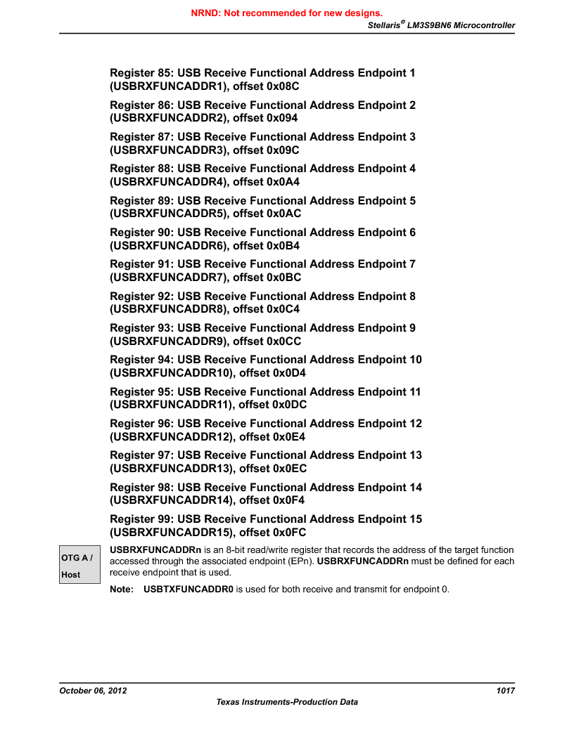 LM3S9BN6-IBZ80-C5 ,Texas Instruments厂商,Stellaris LM3S Microcontroller 108-NFBGA -40 to 85, LM3S9BN6-IBZ80-C5 datasheet预览  第1017页