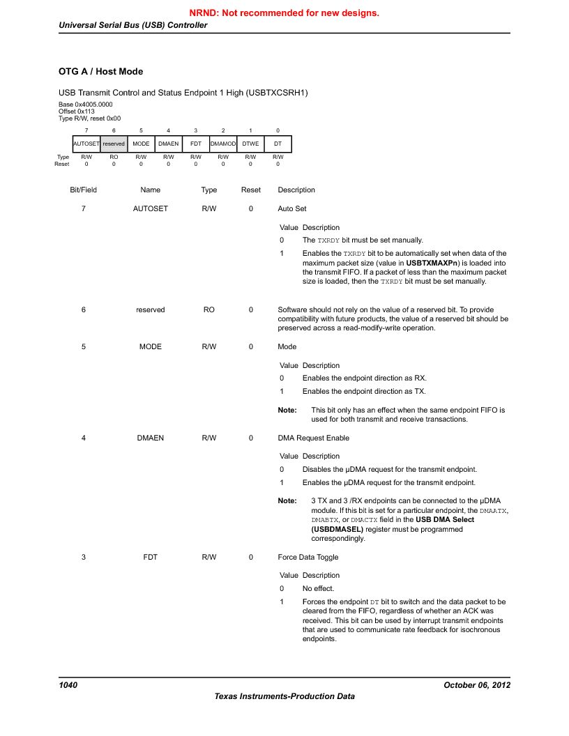 LM3S9BN6-IBZ80-C5 ,Texas Instruments厂商,Stellaris LM3S Microcontroller 108-NFBGA -40 to 85, LM3S9BN6-IBZ80-C5 datasheet预览  第1040页