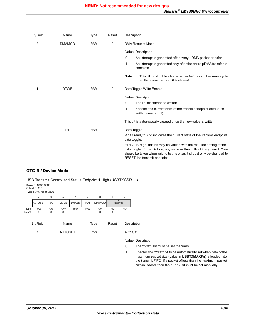 LM3S9BN6-IBZ80-C5 ,Texas Instruments厂商,Stellaris LM3S Microcontroller 108-NFBGA -40 to 85, LM3S9BN6-IBZ80-C5 datasheet预览  第1041页
