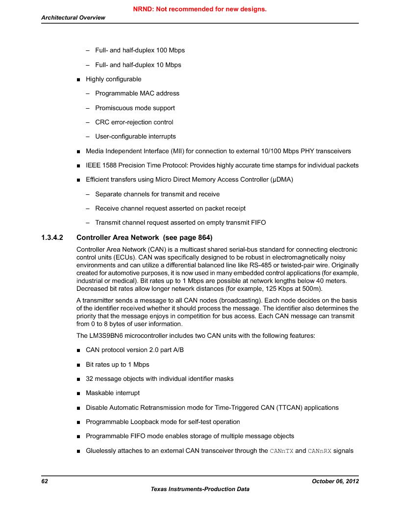 LM3S9BN6-IBZ80-C5 ,Texas Instruments厂商,Stellaris LM3S Microcontroller 108-NFBGA -40 to 85, LM3S9BN6-IBZ80-C5 datasheet预览  第62页