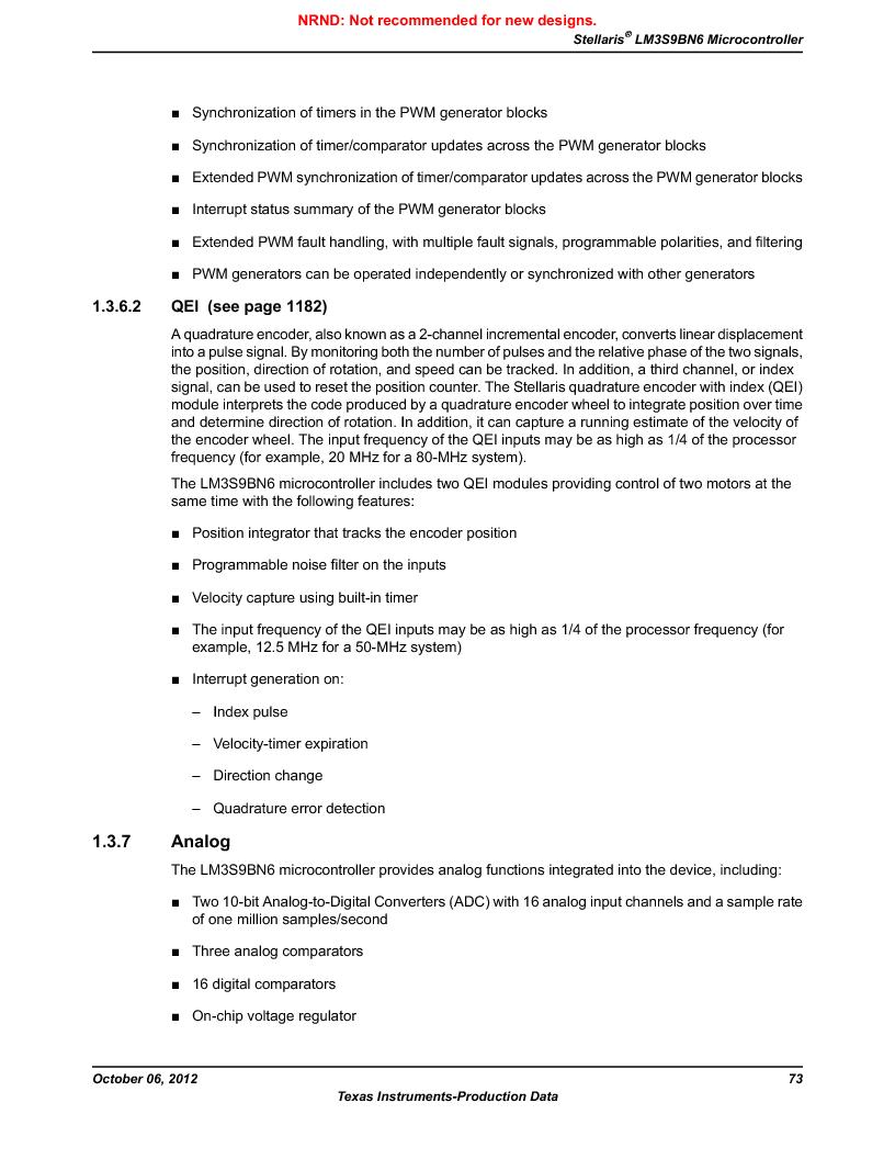LM3S9BN6-IBZ80-C5 ,Texas Instruments厂商,Stellaris LM3S Microcontroller 108-NFBGA -40 to 85, LM3S9BN6-IBZ80-C5 datasheet预览  第73页