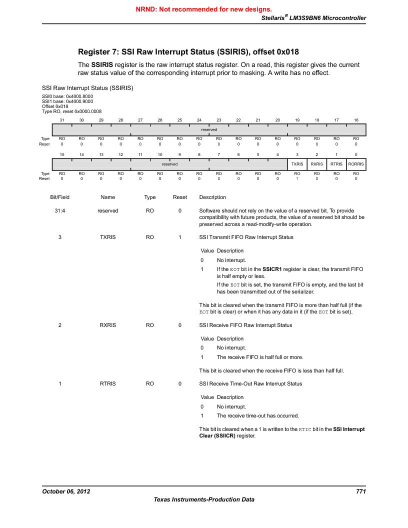 LM3S9BN6-IBZ80-C5 ,Texas Instruments厂商,Stellaris LM3S Microcontroller 108-NFBGA -40 to 85, LM3S9BN6-IBZ80-C5 datasheet预览  第771页