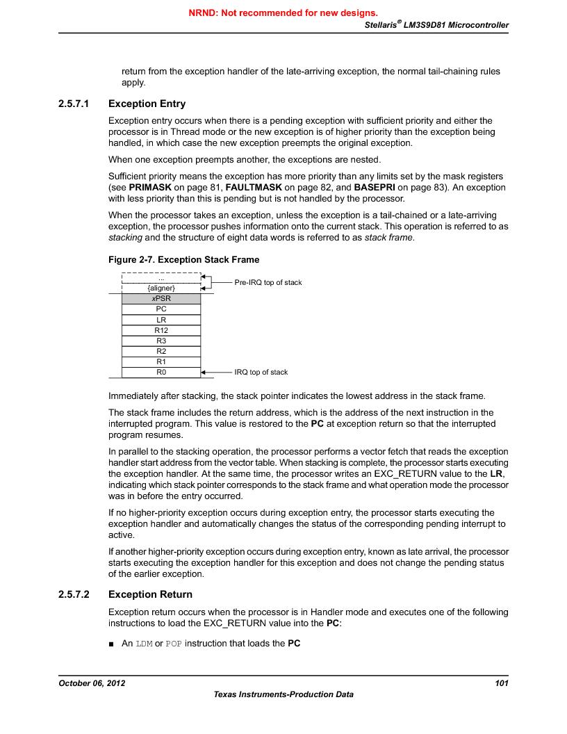 LM3S9D81 ,Texas Instruments厂商,Stellaris LM3S Microcontroller 108-NFBGA -40 to 85, LM3S9D81 datasheet预览  第101页
