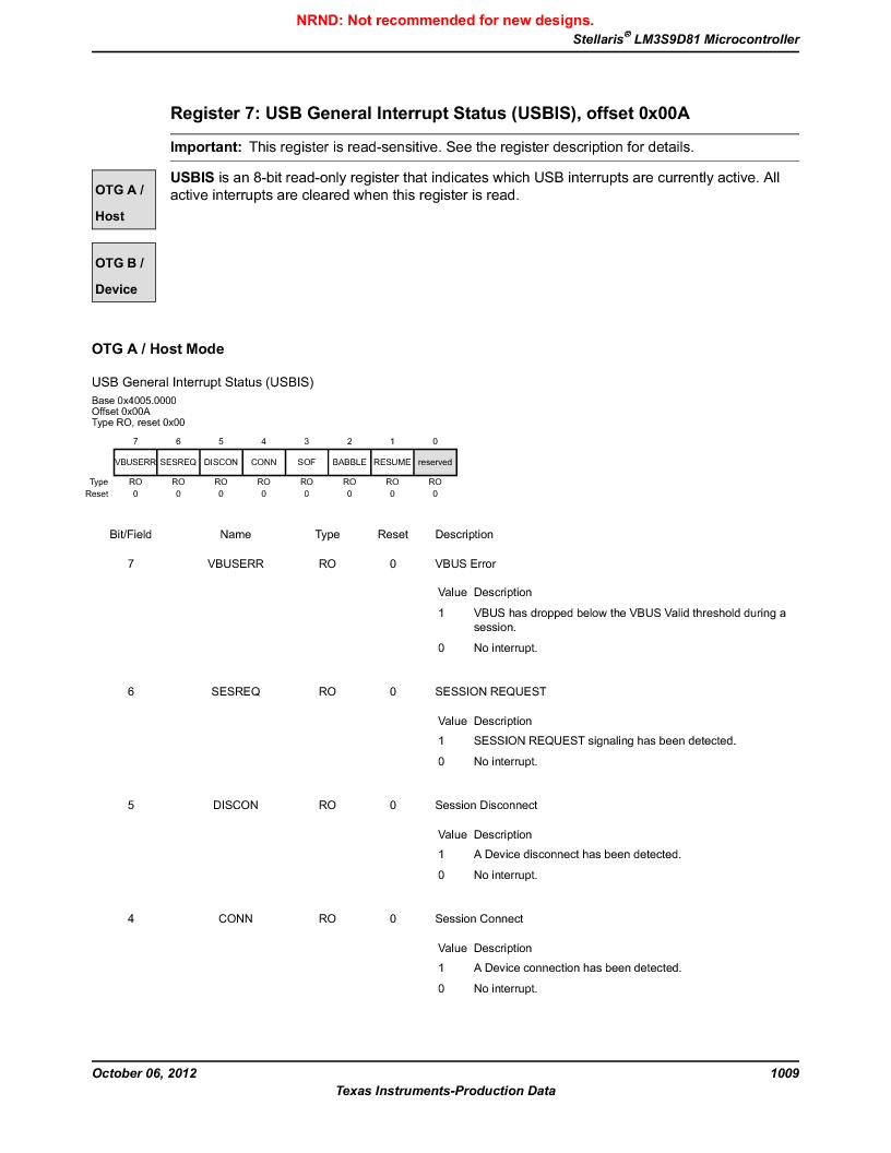 LM3S9D81 ,Texas Instruments厂商,Stellaris LM3S Microcontroller 108-NFBGA -40 to 85, LM3S9D81 datasheet预览  第1009页