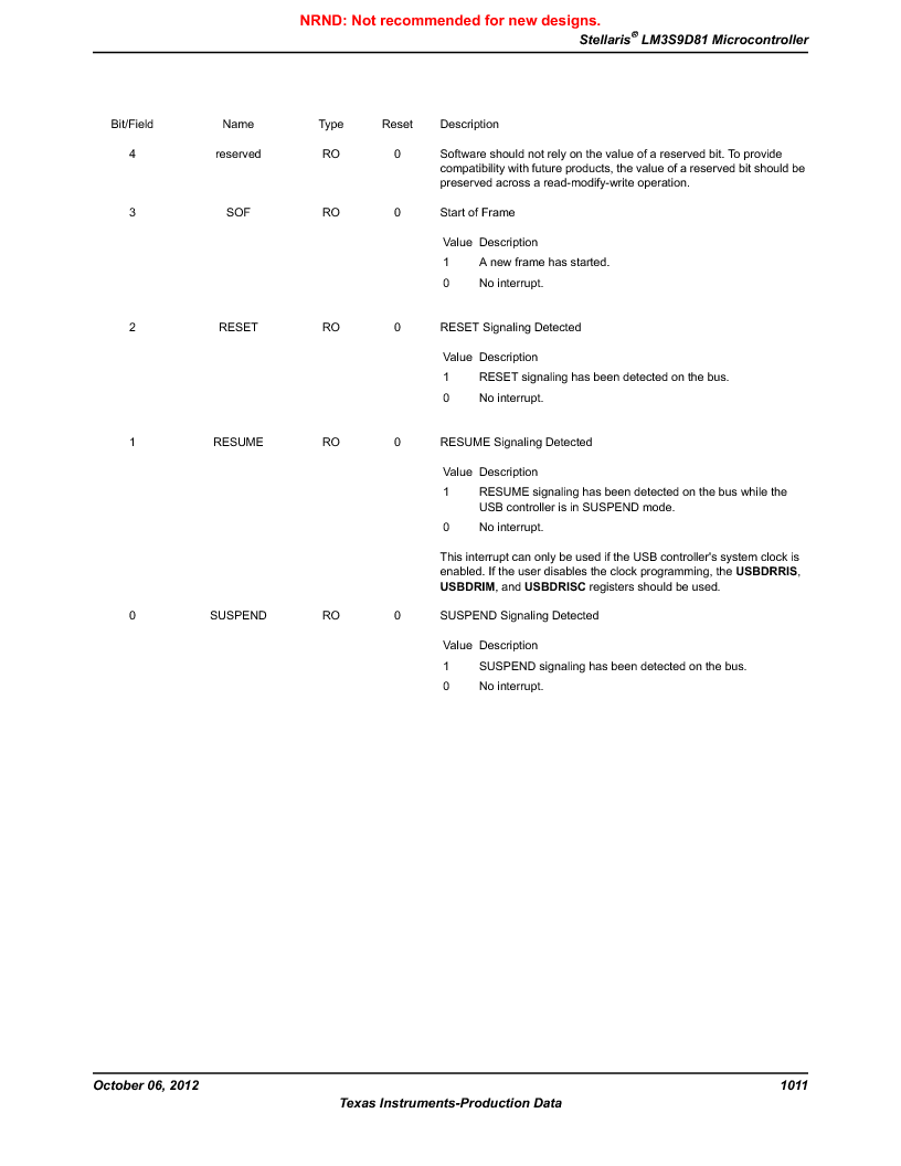 LM3S9D81 ,Texas Instruments厂商,Stellaris LM3S Microcontroller 108-NFBGA -40 to 85, LM3S9D81 datasheet预览  第1011页