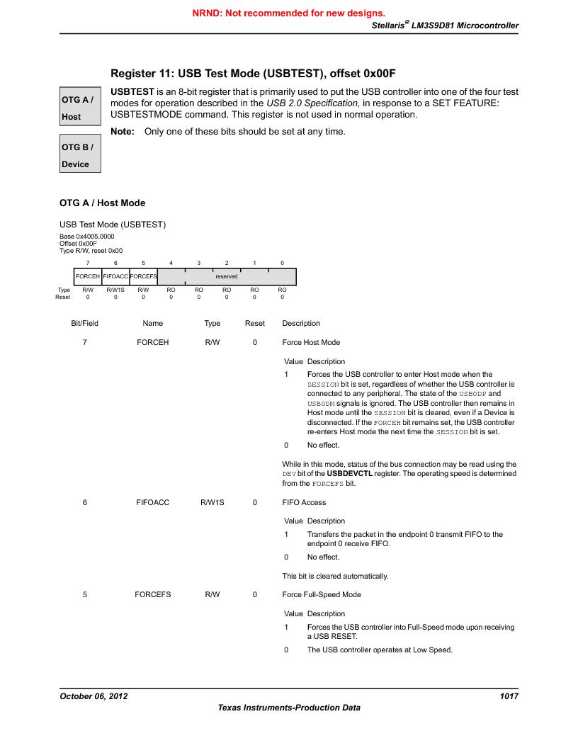 LM3S9D81 ,Texas Instruments厂商,Stellaris LM3S Microcontroller 108-NFBGA -40 to 85, LM3S9D81 datasheet预览  第1017页